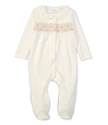 Image of Edgehill Collection Baby Girls Newborn-6 Months Long-Sleeve Ruffle-Collar Smocked Footed Coverall