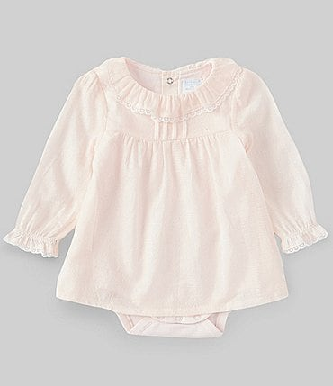 Image of Edgehill Collection Baby Girls Newborn-6 Months Ruffle-Detailed Bodysuit Dress