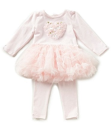 Image of Edgehill Collection Baby Girls Newborn-6 Months Tutu Heart Top & Leggings Set