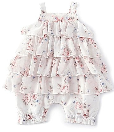 Image of Edgehill Collection Baby Girls Newborn-9 Months Floral Chiffon Romper