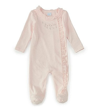 Image of Edgehill Collection Baby Girls Preemie-6 Months Long-Sleeve Floral-Embroidered Footed Coverall