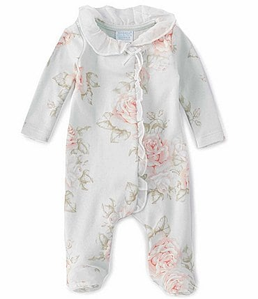 Image of Edgehill Collection Baby Girls Preemie-6 Months Long-Sleeve Vintage Floral Footed Coverall