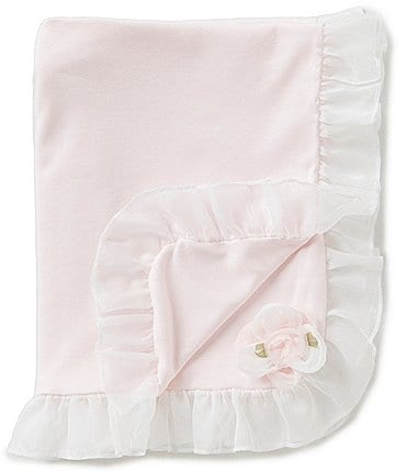 Image of Edgehill Collection Baby Girls Ruffle Rosette Receiving Blanket