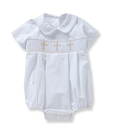 Image of Edgehill Collection Baby Boys 3-9 Months Cross Smocked Christening Shortall
