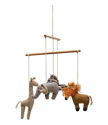 Image of Edgehill Collection Wood & Fabric Safari Animal Crib Mobile