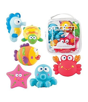 "Image of Elegant Baby 6-Piece ""Lagoon Party"" Bath Squirties"