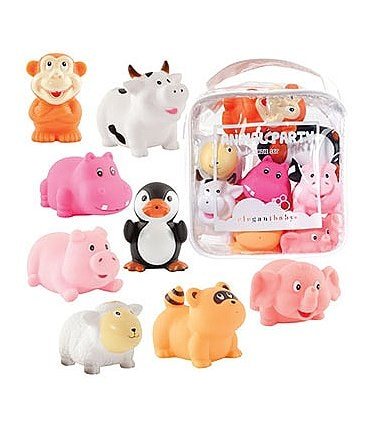 "Image of Elegant Baby 8-Piece ""Animal Party"" Bath Squirties"