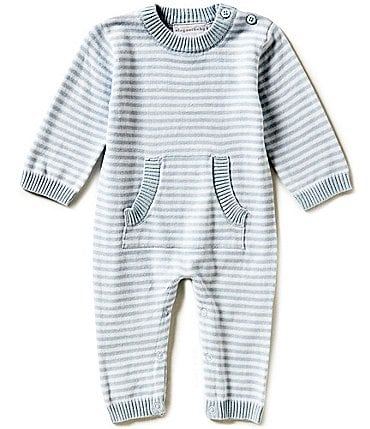 Image of Elegant Baby Baby Newborn-3 Months Long-Sleeve Striped Coverall