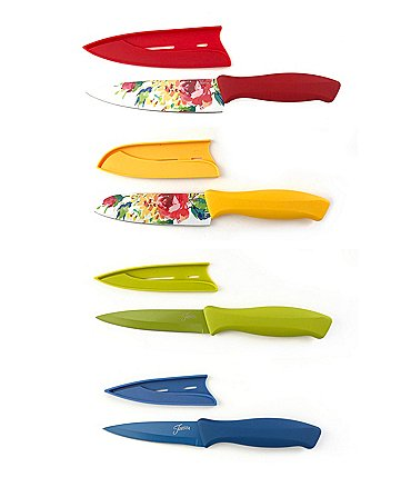 Image of Fiesta 8-Piece Floral Decal Cutlery Set with Sheaths