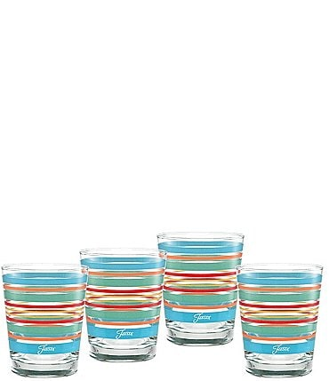 Image of Fiesta Rainbow Radiance Stripe Double Old-fashion Glasses, Set of 4