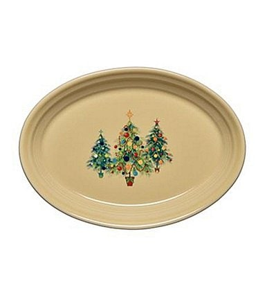 Image of Fiesta Small Christmas Trio of Trees Oval Platter