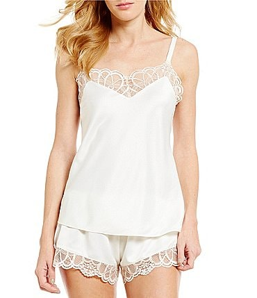 Image of Flora Nikrooz Gabby Lace-Trimmed Charmeuse Pajamas