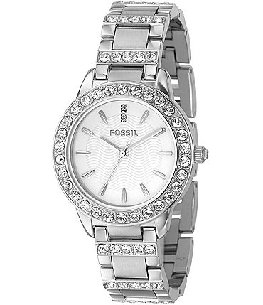 Image of Fossil White-Dial Glitz Dress Watch