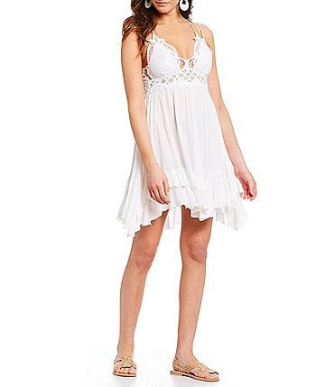 Image of Free People Adella Lace Slip Ruffle Tiered Asymmetrical Hem Spaghetti Strap Flounce Mini Dress