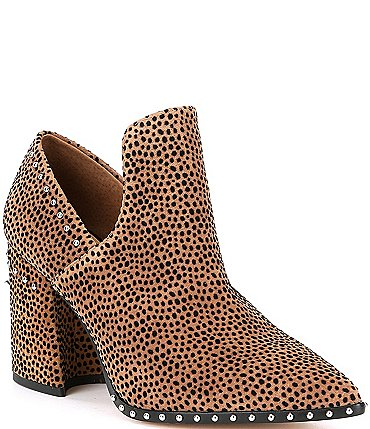 Image of Gianni Bini Daveigh Cheetah Print Suede Studded Western Block Heel Booties