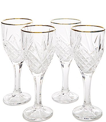 Image of Godinger Dublin 4-Piece Gold-Rimmed Handcrafted Crystal Goblet Set
