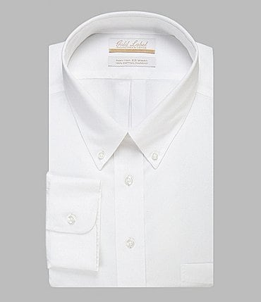 Image of Gold Label Roundtree & Yorke Big & Tall Non-Iron Button-Down Collar Solid Dress Shirt