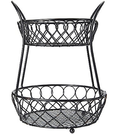 Image of Gourmet Basics by Mikasa Loop & Lattice 2-Tier Countertop Wire Basket