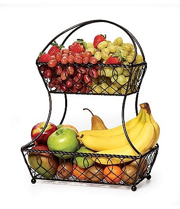 Image of Gourmet Basics by Mikasa Loop & Lattice 2-Tier Flatback Basket