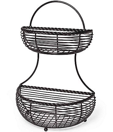 Image of Gourmet Basics by Mikasa Rope 2 Tier Countertop Flatback Basket