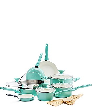 Image of GreenPan Rio 16-Piece Turquoise with Cream Interior Cookware Set