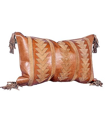 Image of HiEnd Accents Arrow Design Leather Pillow with Tassels