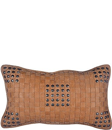 Image of HiEnd Accents Basket Weave Leather Pillow with Stud Accents