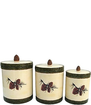 Image of HiEnd Accents Pine Cone 3-Piece Canister Set