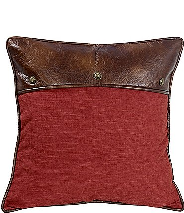 Image of HiEnd Accents Red Euro Sham with Faux Leather and Conchos