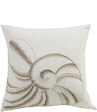 Image of HiEnd Accents Seashell Embroidery Square Pillow