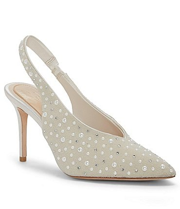Image of Imagine Vince Camuto Mayran Satin Pearl Beaded Slingback Pumps