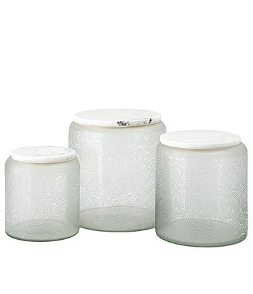 Image of Imax Stacy Garcia Etched Glass Marble Decorative Canisters Set of 3