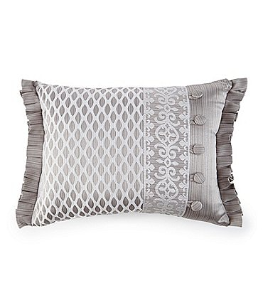 Image of J. Queen New York Babylon Pleated Damask & Diamond Faux-Buttoned Satin Boudoir Pillow
