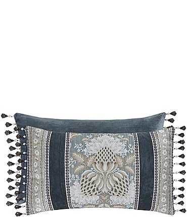 Image of J. Queen New York Crystal Palace Fringed Floral Jacquard & Velvet Boudoir Pillow