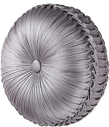Image of J. Queen New York Luxembourg Silver Tufted Round Pillow