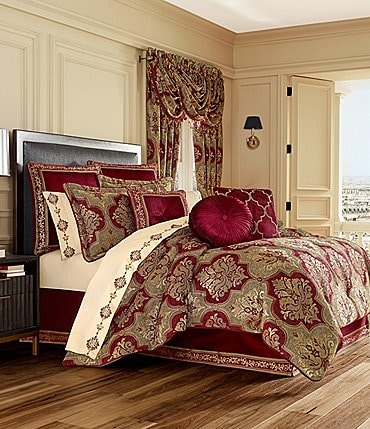 Image of J. Queen New York Maribella Crimson Chenille Damask Comforter Set