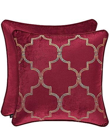 Image of J. Queen New York Maribella Crimson Embroidered Square Pillow