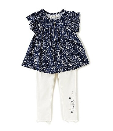 Image of Jessica Simpson Baby Girls 12-24 Months Feather-Printed Top & Stretch Twill Denim-Look Pants