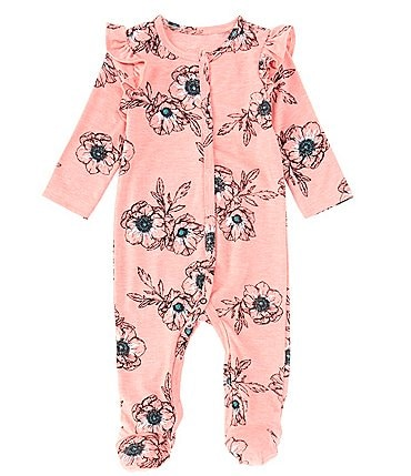 Image of Jessica Simpson Baby Girls 3-9 Months Long-Sleeve Ruffled Floral Footed Coverall