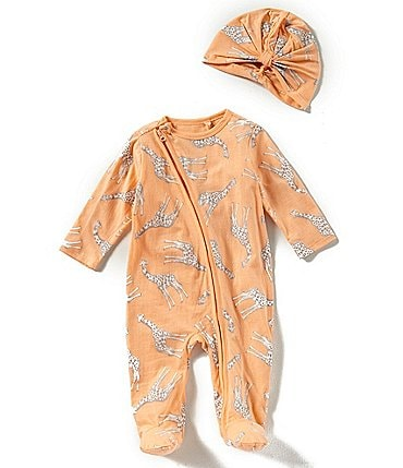 Image of Jessica Simpson Baby Girls Newborn-9 Months Giraffe-Printed Footed Coverall & Hat Set