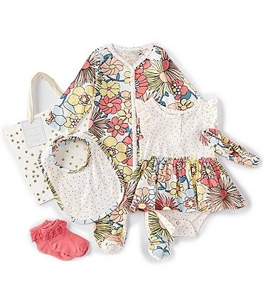 Image of Jessica Simpson Baby Girls Newborn-9 Months Long-Sleeve Floral Footed Coverall, Skirted Bodysuit, Headband, Bib & Socks Set