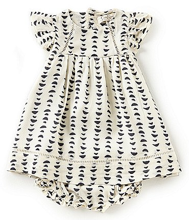 Image of Jessica Simpson Baby Girls Newborn-9 Months Printed Flutter-Sleeve Dress & Bloomers Set