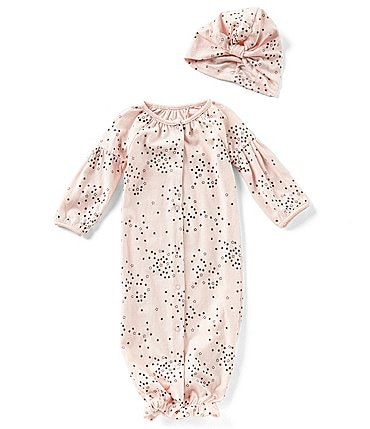 Image of Jessica Simpson Baby Girls Newborn-9 Months Printed Long-Sleeve Gown & Matching Hat Set