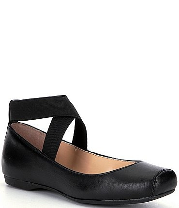 Image of Jessica Simpson Mandalaye Leather Square-Toe Criss Cross Ankle Straps Ballet Flats