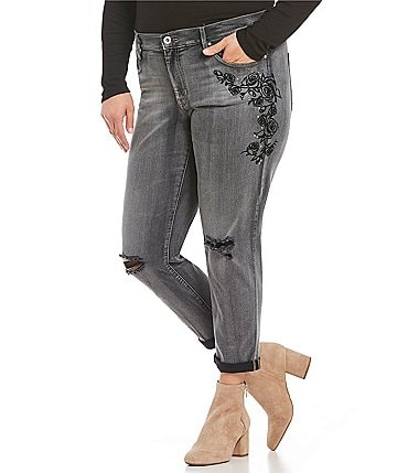 Image of Jessica Simpson Plus Floral Embroidered Denim