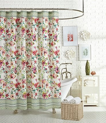 Image of Jessica Simpson Watercolor Garden Floral & Paisley Shower Curtain