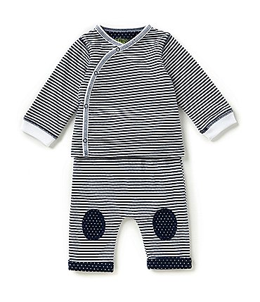 Image of Kapital K Baby Boys Newborn-9 Months Striped Wrap Top & Striped/Dotted Pants Set