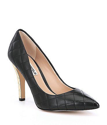 Image of KARL LAGERFELD PARIS Anara Leather Quilted Metal Heel Pumps