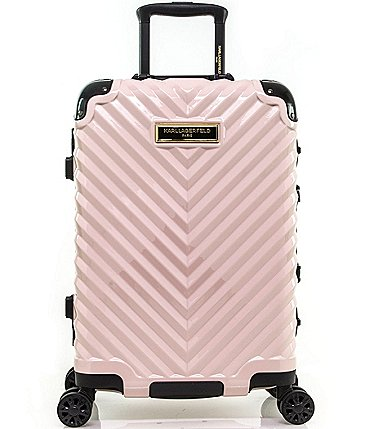 "Image of KARL LAGERFELD PARIS Chevron 20"" International Carry-on Hardside Spinner"