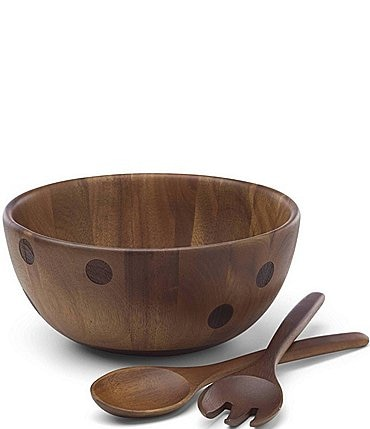 Image of kate spade new york All in Good Taste Deco Dot Acacia Wood Salad Bowl with Servers